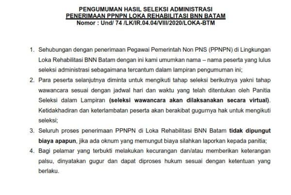 Pengumuman Hasil Seleksi Administrasi Penerimaan Pegawai Pemerintah Non-PNS (PPNPN) 2020