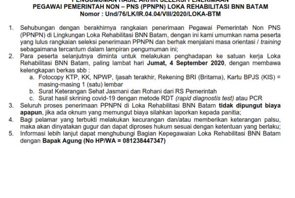 Pengumuman Hasil Akhir Penerimaan Pegawai Pemerintah Non-PNS (PPNPN) 2020